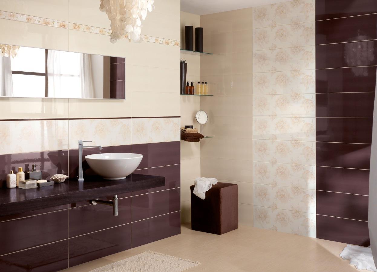 Pareti Bordeaux E Beige : Piastrelle bagno marrone e beige: idee di abbinamento di colori per